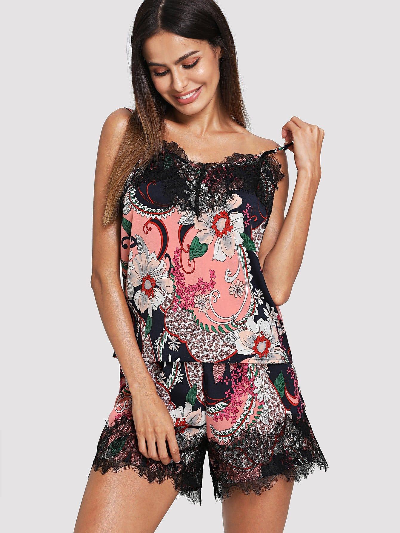 Lace Applique Floral Cami & Shorts PJ Set floral applique bowknot top with shorts