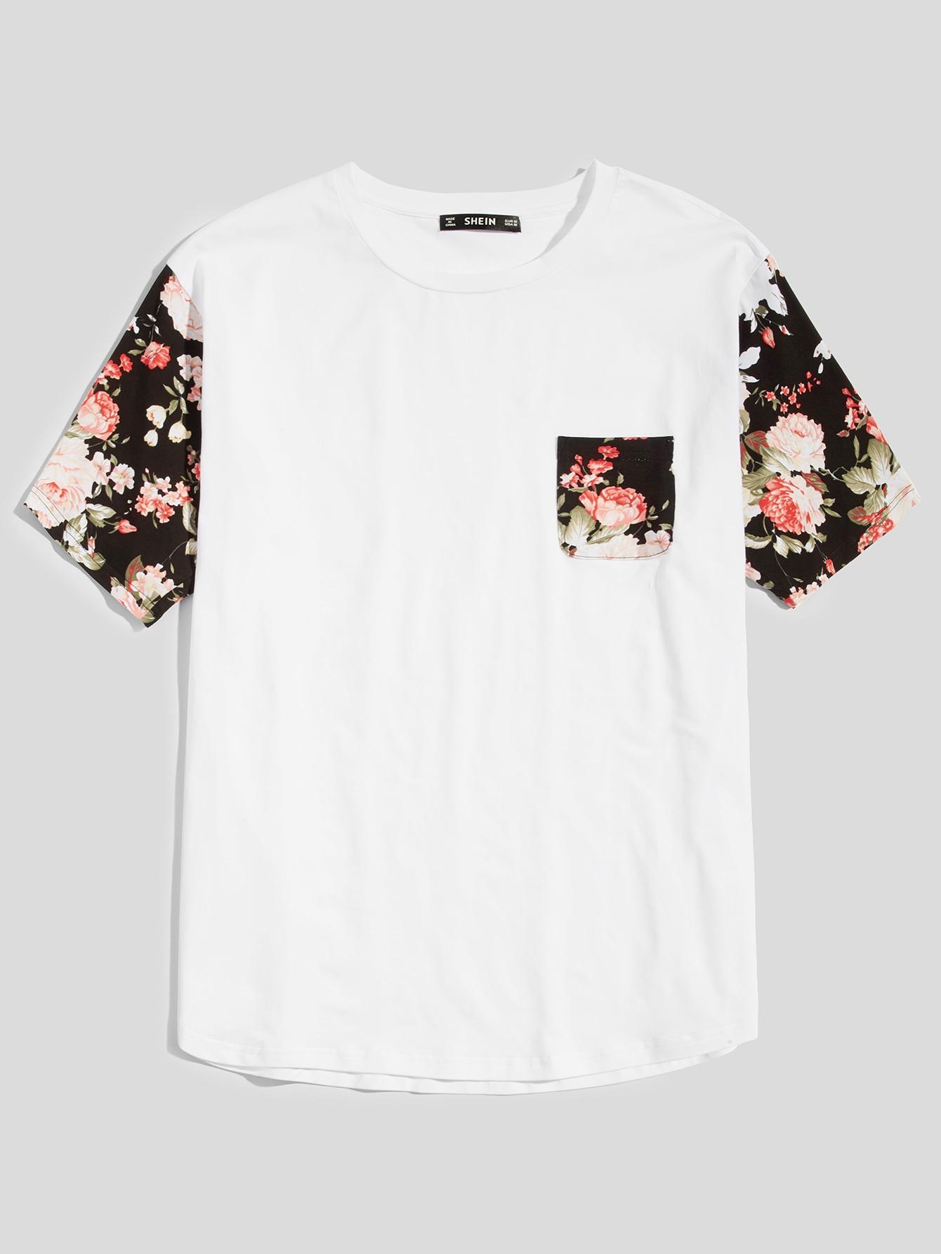 Купить Мужская цветочная втулка и карманная футболка, null, SheIn