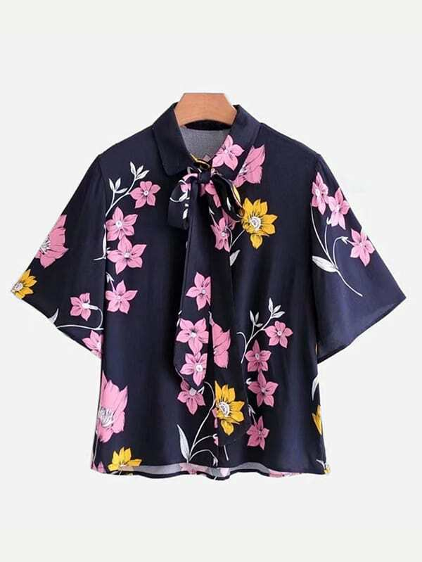 Random Florals Tie Neck Shirt cashmere knee warm old product joints cold wool winter spontaneous hot upset elderly men and women lengthen your knees