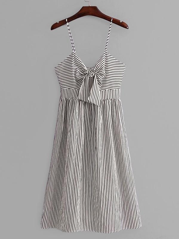 Купить Узел передних полосатых ками платье, null, SheIn