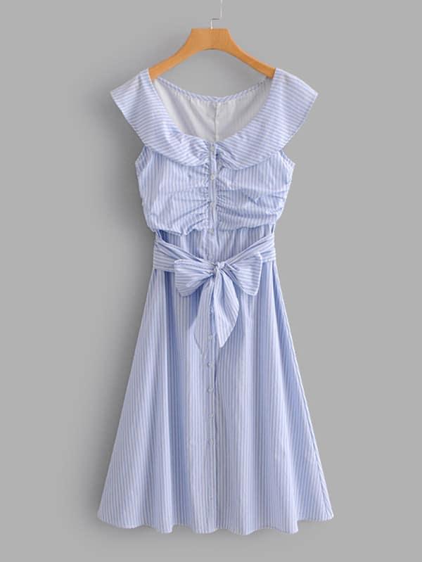 Купить Tie Front Ruched Детальное полосатое платье, null, SheIn