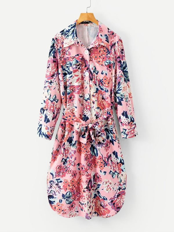 All Over Florals Curved Hem Shirt Dress batwing sleeve pocket side curved hem textured dress