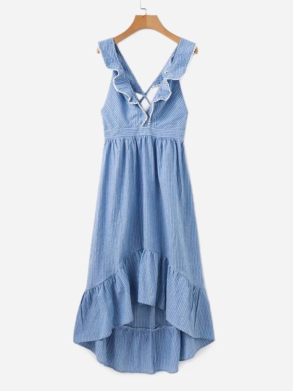 Contrast Lace Ruffle Trim Striped Dress contrast lace striped star print dress