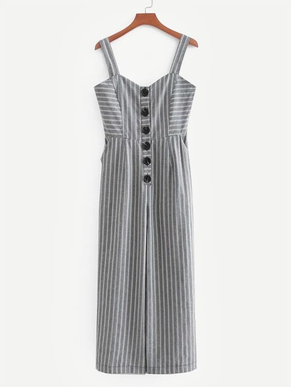 Button Front Striped Wide Leg Jumpsuit shirred panel wide leg striped jumpsuit