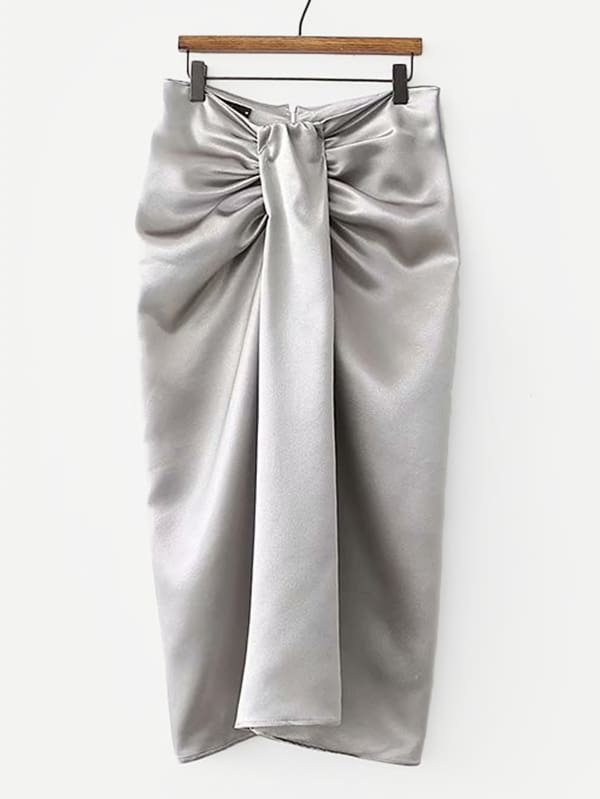Metallic Ruched Detail Skirt solid ruched knit skirt