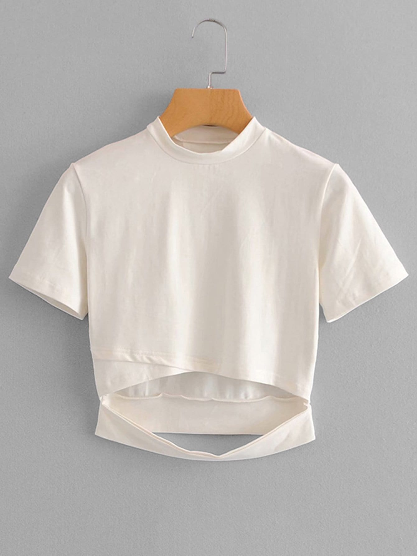 Mock Neck Cut Out Front Crop Tee mock collar sweatshirt cut out top white