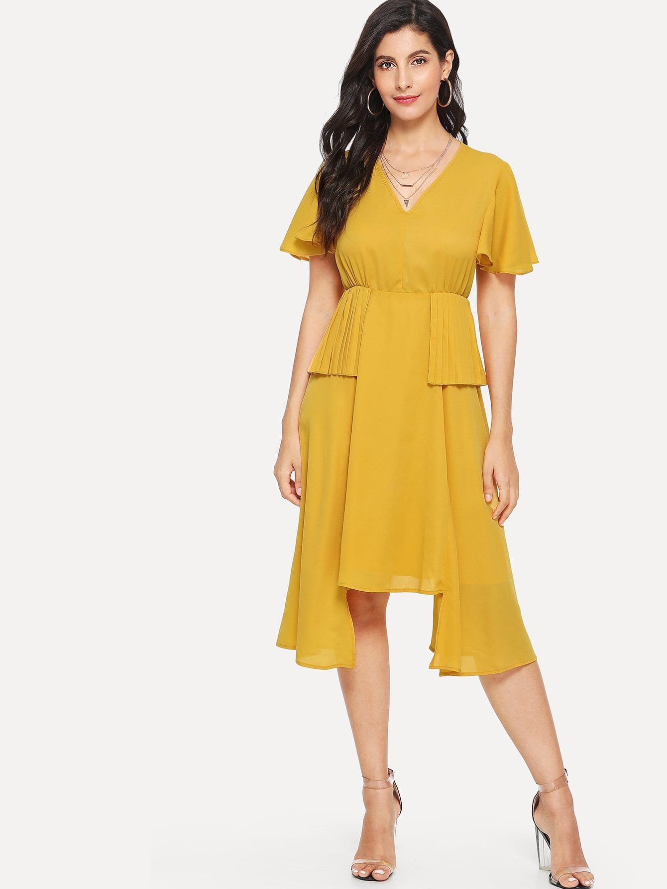 Flutter Sleeve Pleated Panel Asymmetrical Hem Dress contrast pleated sleeve frayed hem tweed dress
