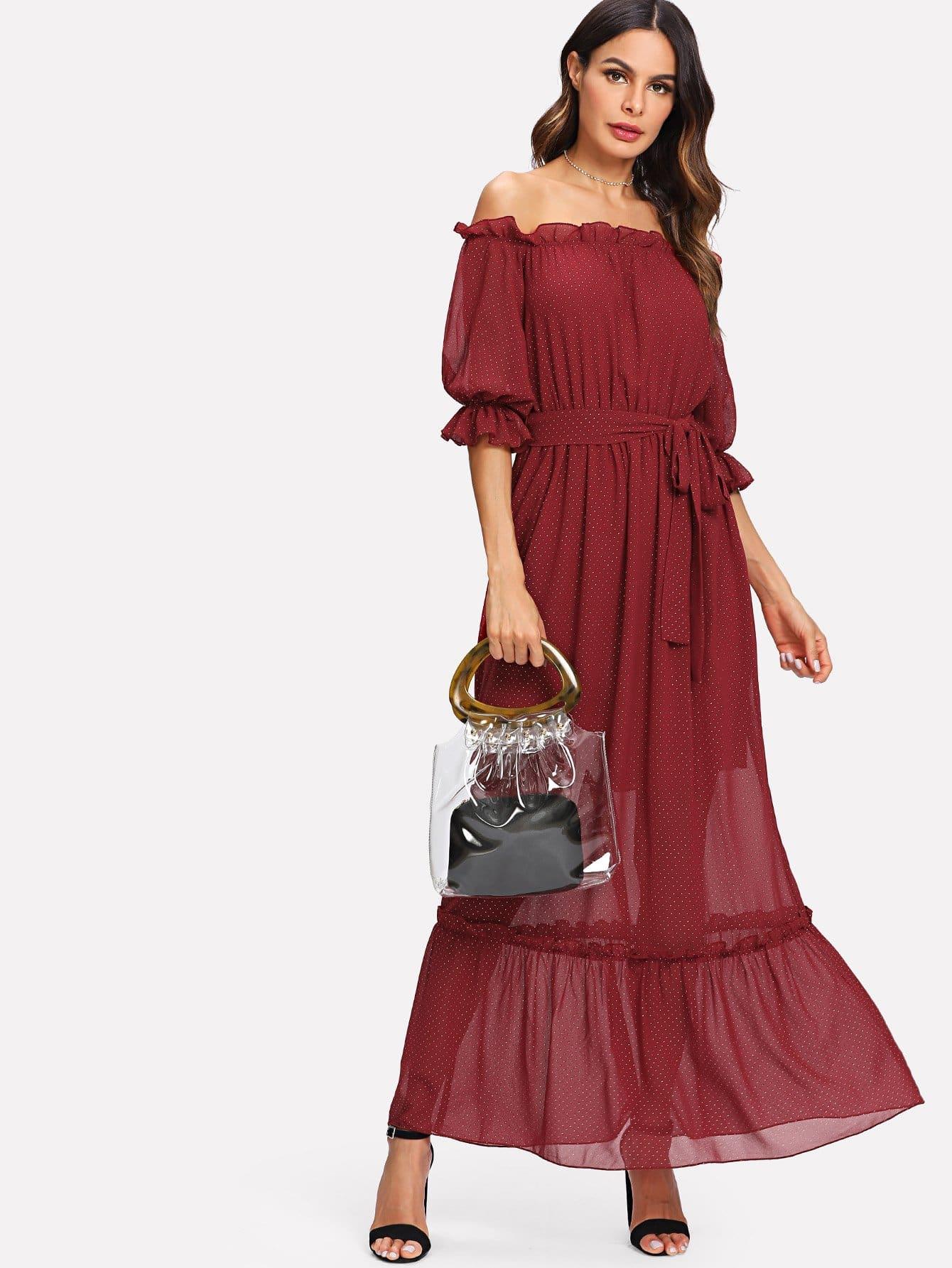 Polka Dot Frill Trim Layered Hem Belted Bardot Dress girls frill trim polka dot dress