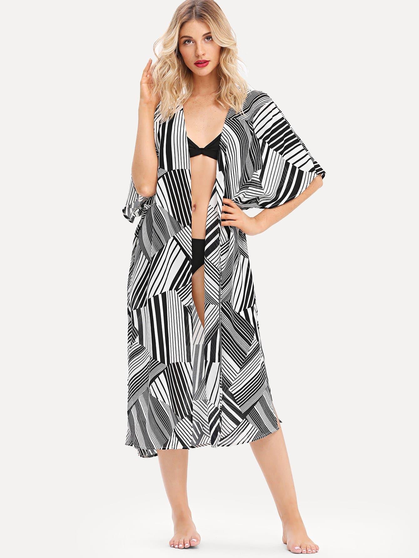 Slit Hem Striped Longline Kimono цена