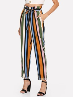 Self Belted Rolled Up Hem Striped Pants