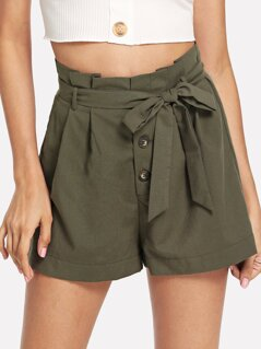 Self Belted Button Front Frilled Shorts