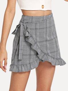 Frill Trim Knot Side Plaid Wrap Skirt