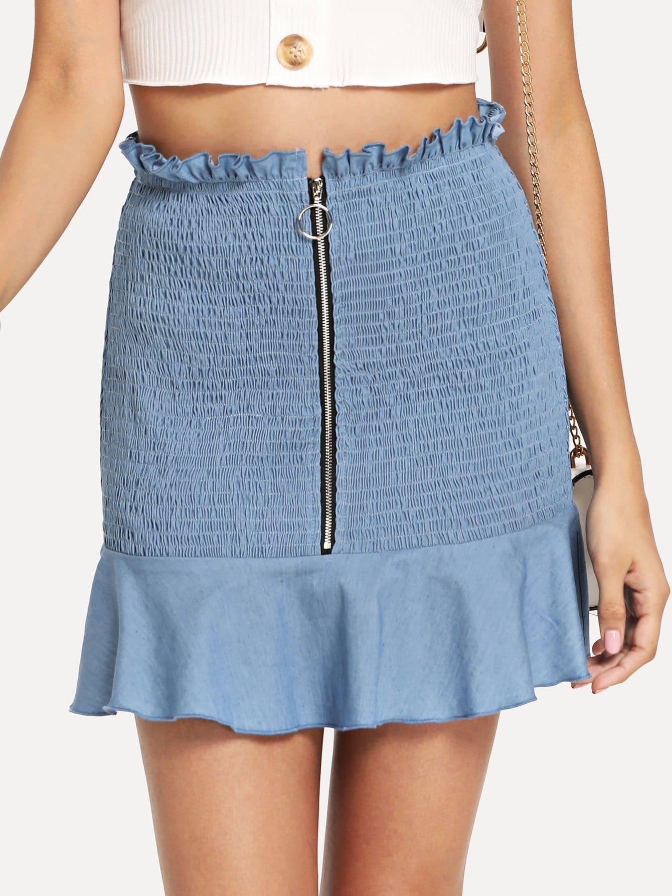 Купить O-Ring Zip Front Shirred Panel Ruffle Hem Юбка, Gabi B, SheIn