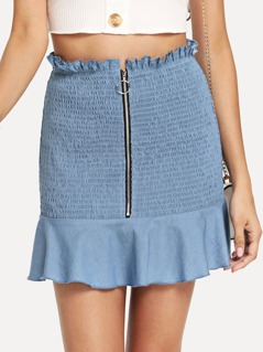 O-Ring Zip Front Shirred Panel Ruffle Hem Skirt