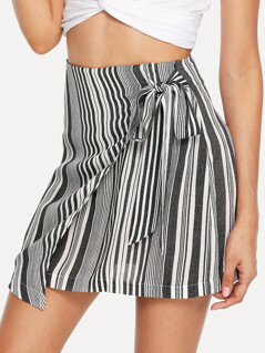 Striped Print Wrap Skirt
