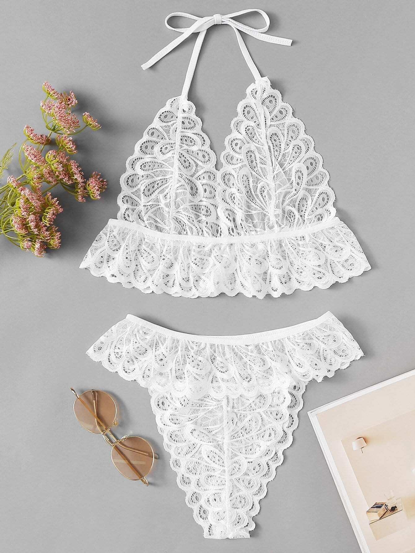 Scalloped Trim Lingerie Set bow detail scalloped trim lingerie set