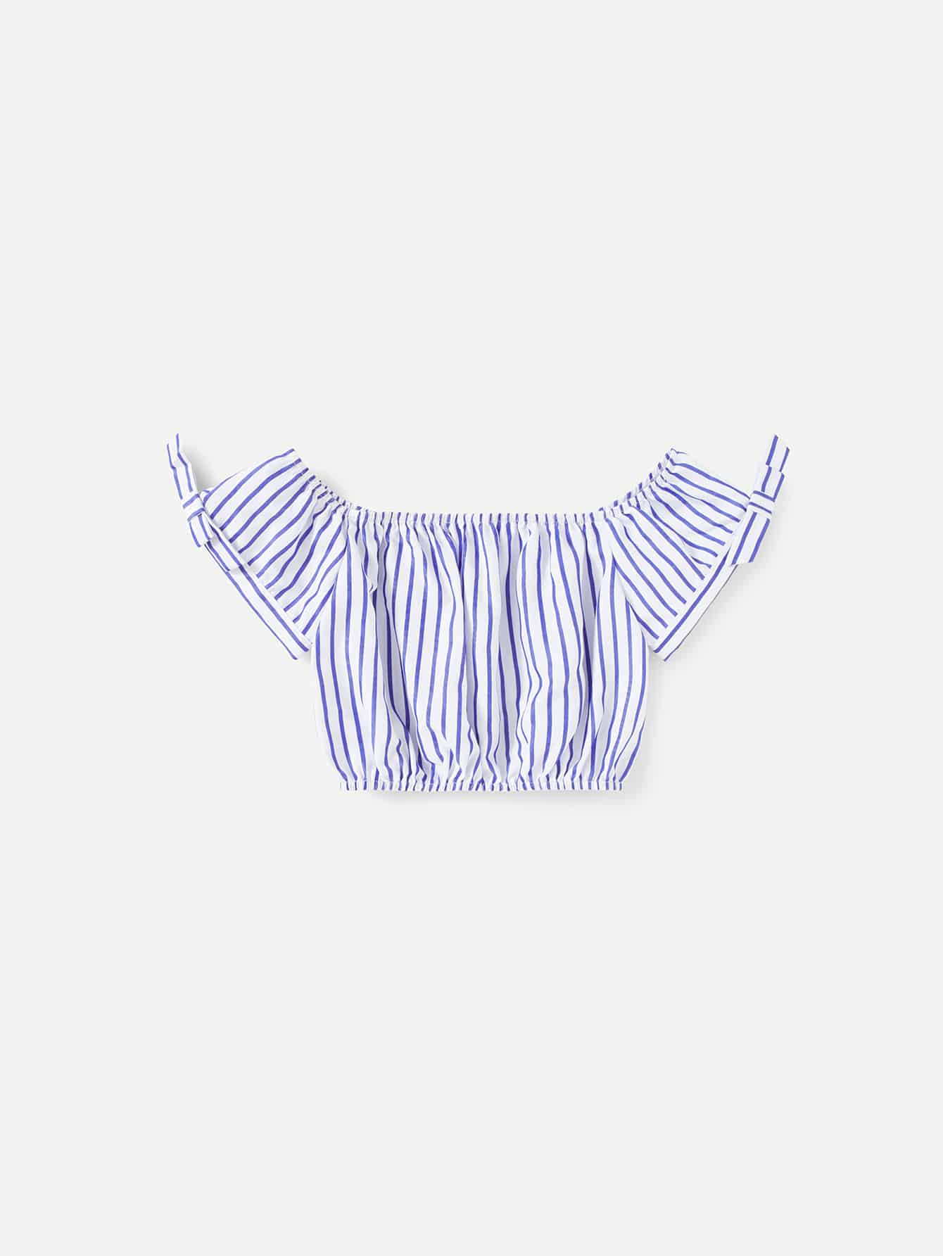 Bow Detail Cuff Striped Crop Top mesh shoulder lace applique bow detail striped top