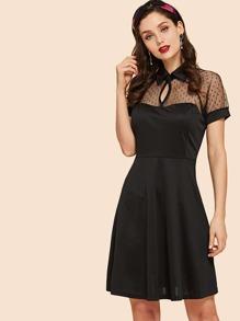 Contrast Mesh Box Pleated Plain Dress