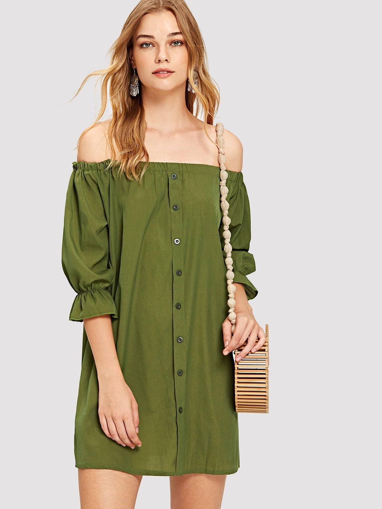 Купить Платье с открытыми плечами с пуговицами, Teresa, SheIn