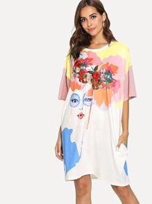 Colorblock Tassel Flower Embroidered Figure Print Dress