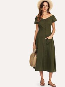 Off-Shoulder Pocket Dress