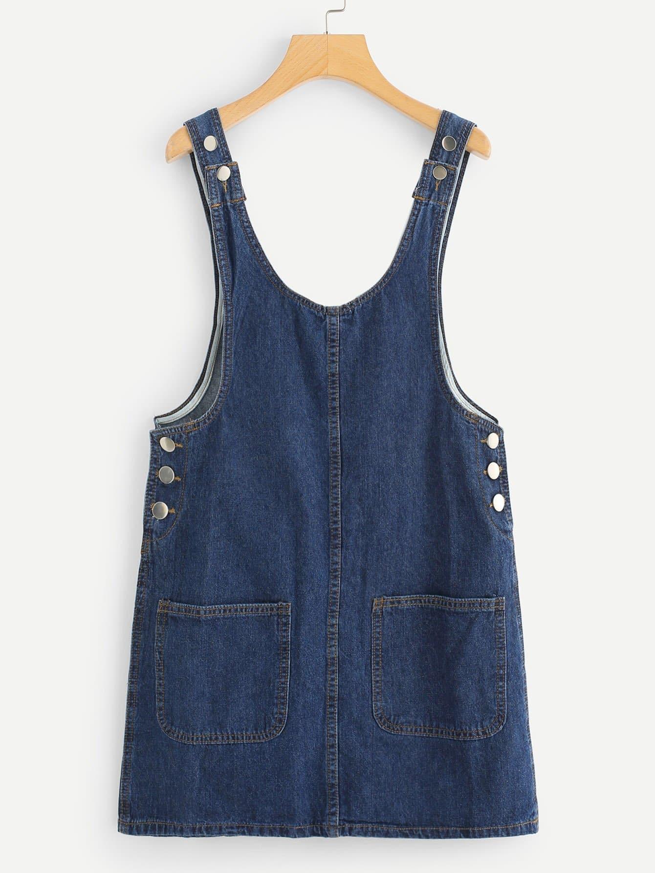 Button Pocket Front Denim Dress