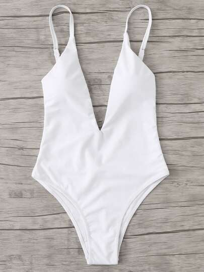 6d1713e89bd41 V Plunge Plain Swimsuit