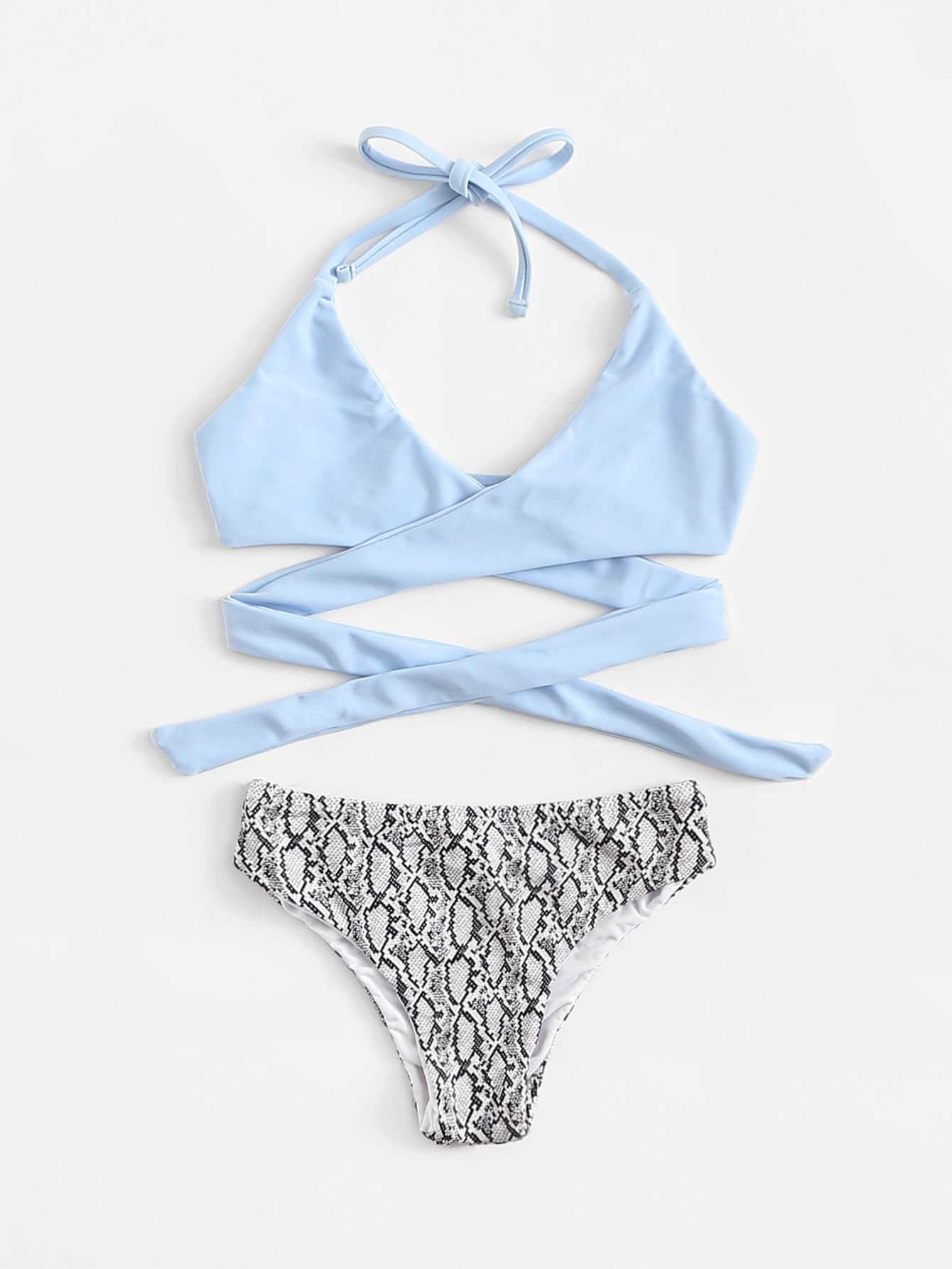 Girls Snakeskin Pattern Wrap Swimsuit аксессуар чехол lenovo p70 nillkin frosted shield white