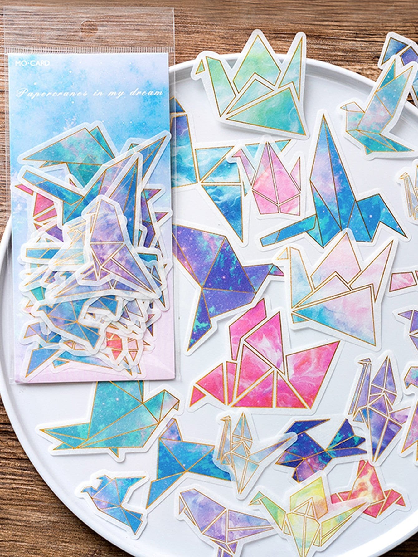 Paper Crane Shaped Sticker 60Sheets paper crane