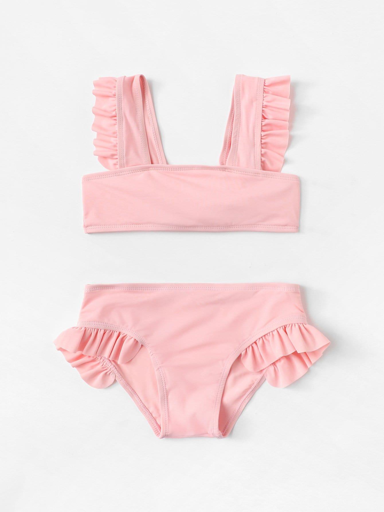 Girls Ruffle Plain Bikini Set flounce plain bikini set
