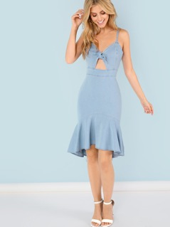 Denim Bodycon Dress with Ruffle Hem and Front Bow
