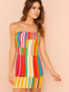 Rainbow Ribbed Knit Cami Dress