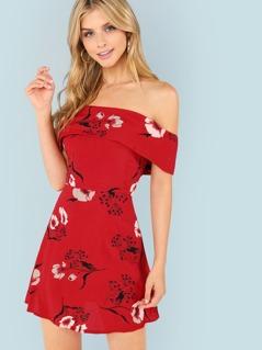 Floral Print Off Shoulder Dress