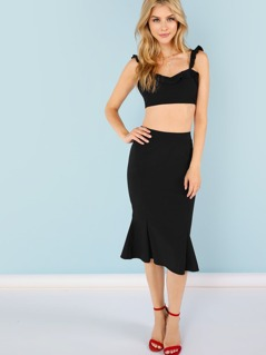 Ruffle Strap Crop Top with Midi Skirt
