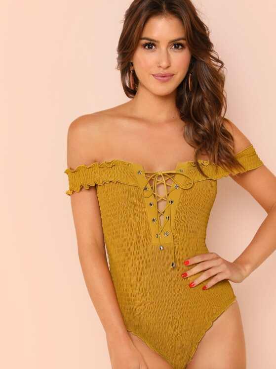 51231f1517 Off Shoulder Smocked Lace Up Bodysuit | MakeMeChic.COM