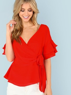 Wrap Blouse with Tiered Sleeves