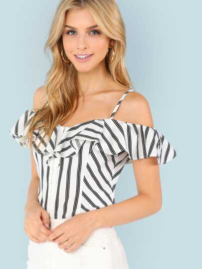 Stripe Cold Shoulder Blouse
