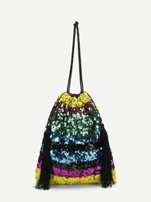 Sequin Overlay Shoulder Bag With Tassel