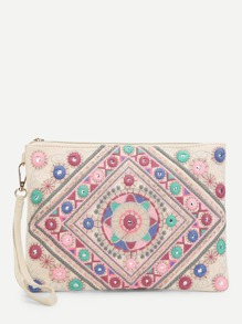 Embroidery Detail Clutch Bag