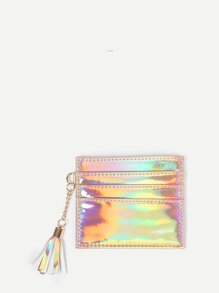Iridescent PU Purse With Tassel