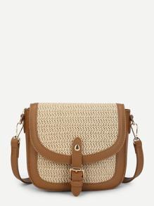 Contrast Trim Flap Crossbody Bag