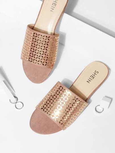 8da7b1e45986d Peep Toe Flat Sandals