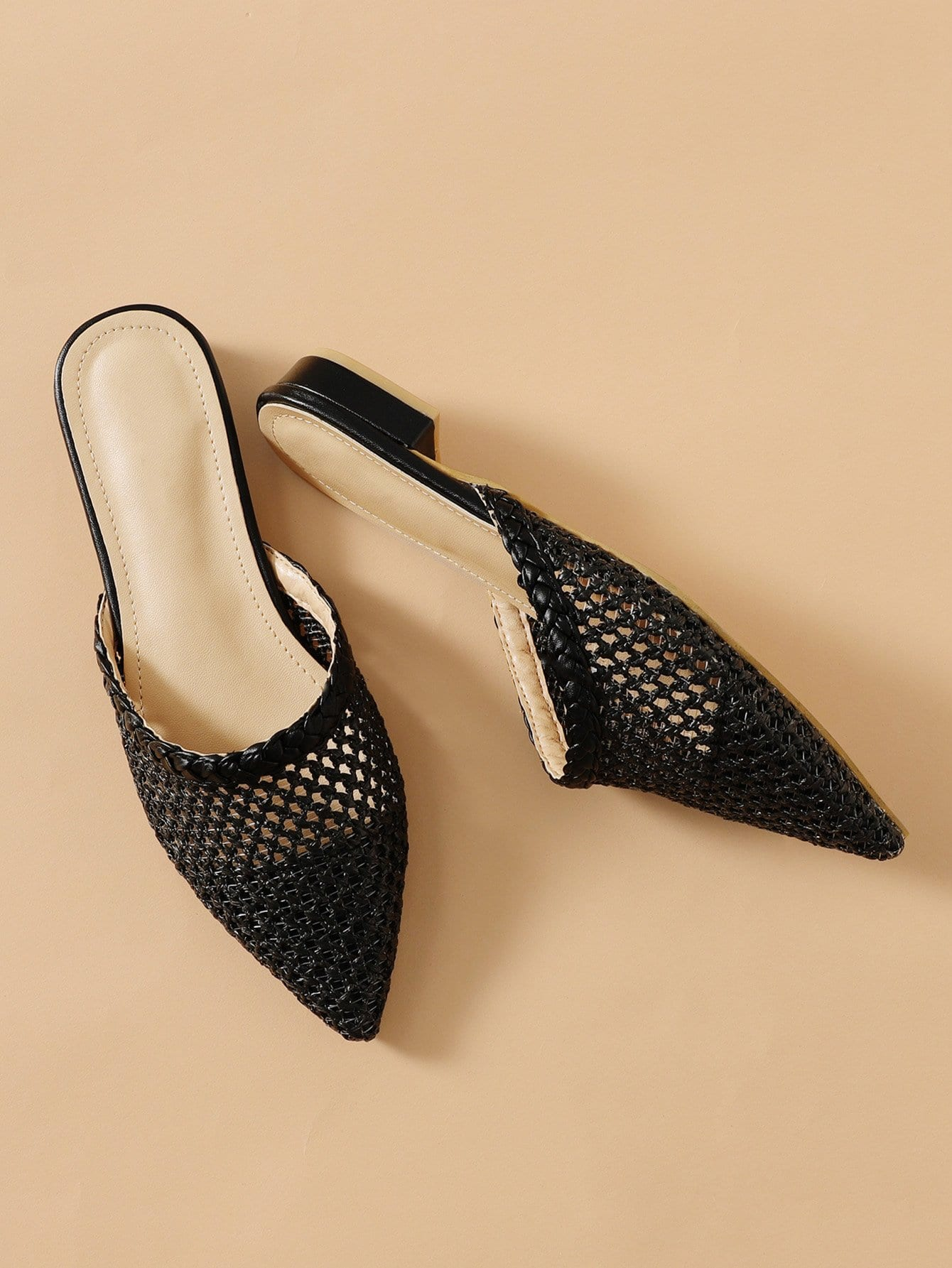 Pointed Toe Woven Flats pointed toe tie leg flats