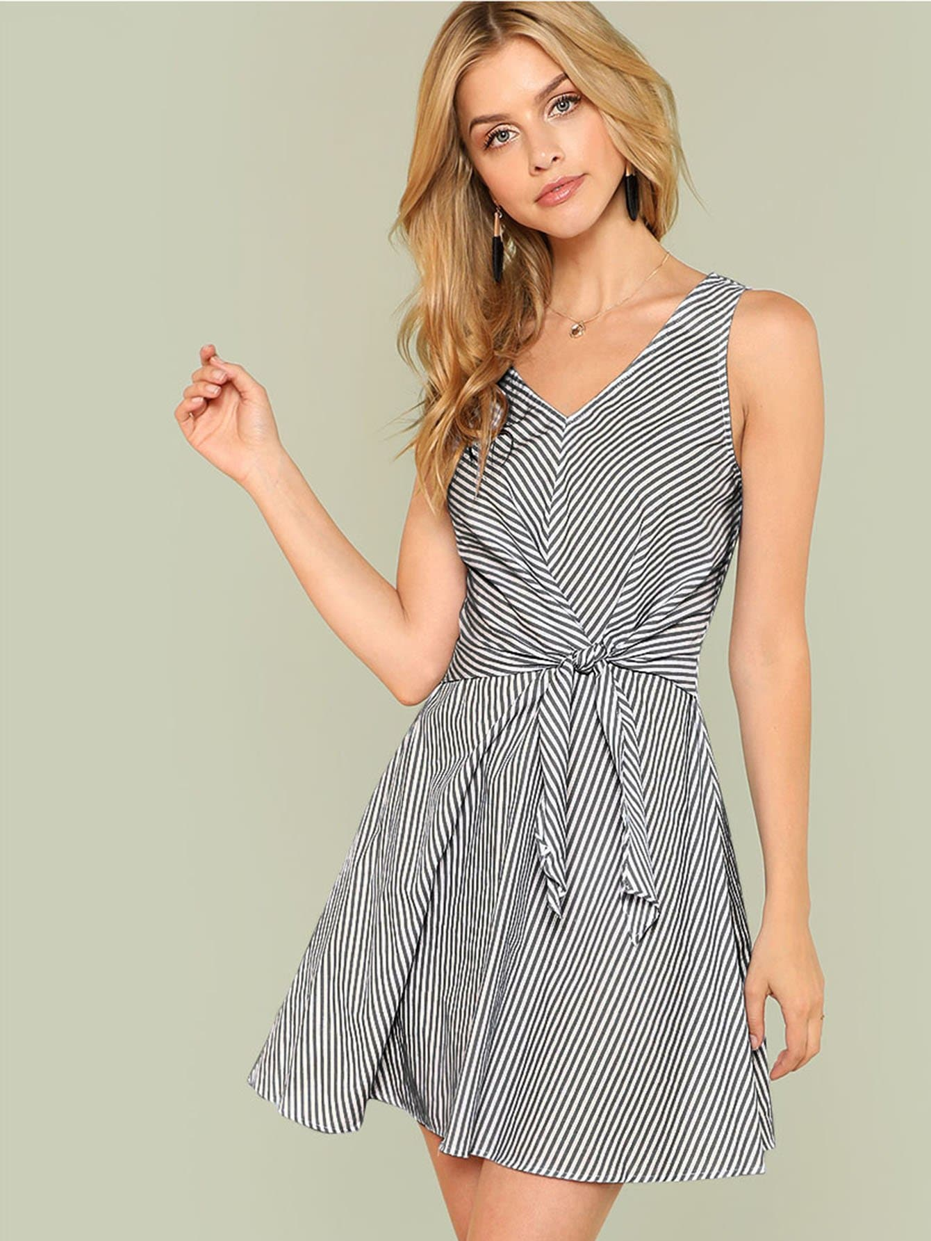Knot Waist Sleeveless Striped Dress one shoulder waist knot split striped dress