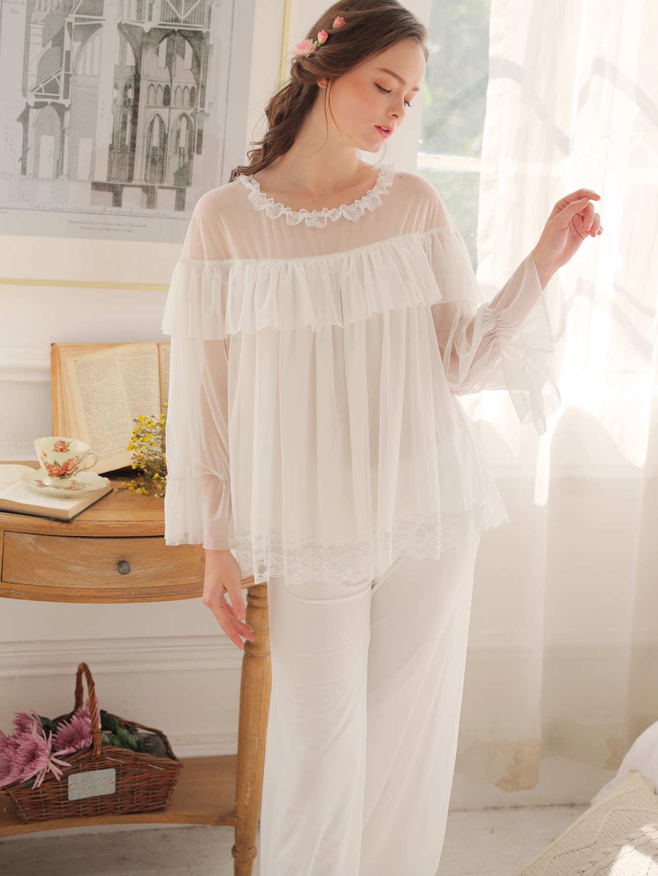 Contrast Mesh Ruffle Hem Pajama Set ruffle hem gingham contrast mesh skirt
