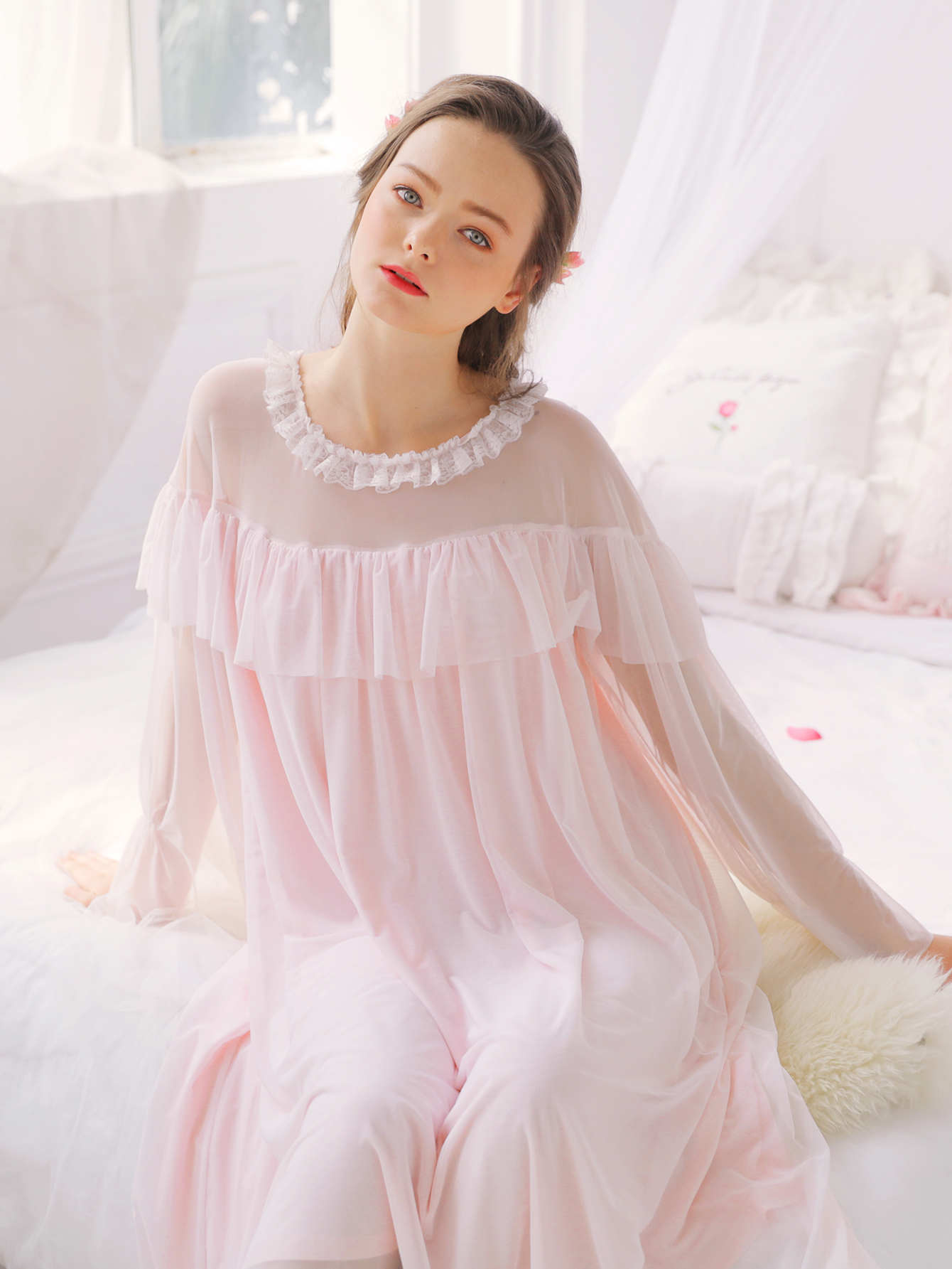 Contrast Mesh Ruffle Hem Night Dress ballu bhc l06 s03