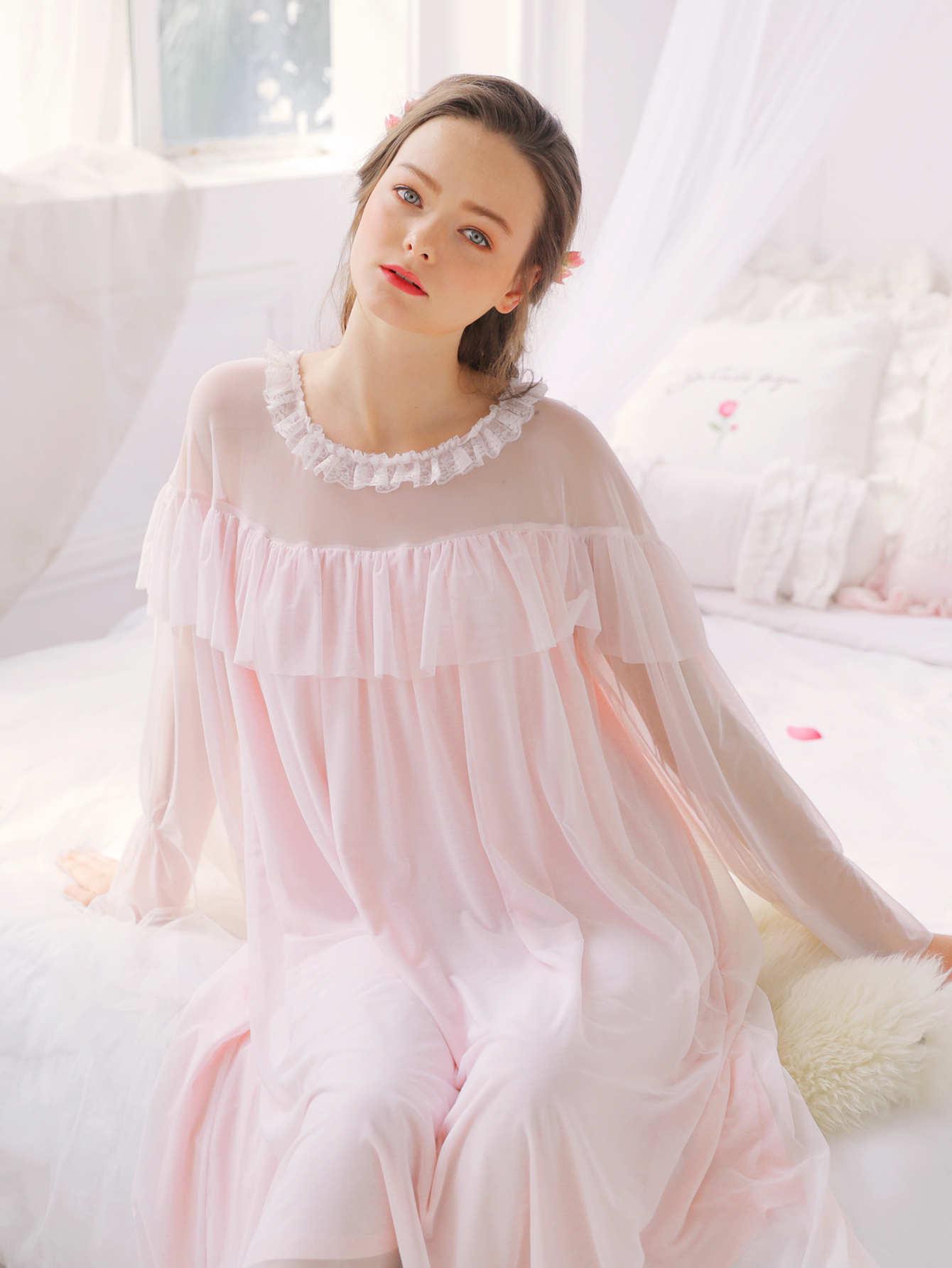 Contrast Mesh Ruffle Hem Night Dress stripe contrast ruffle hem hooded dress