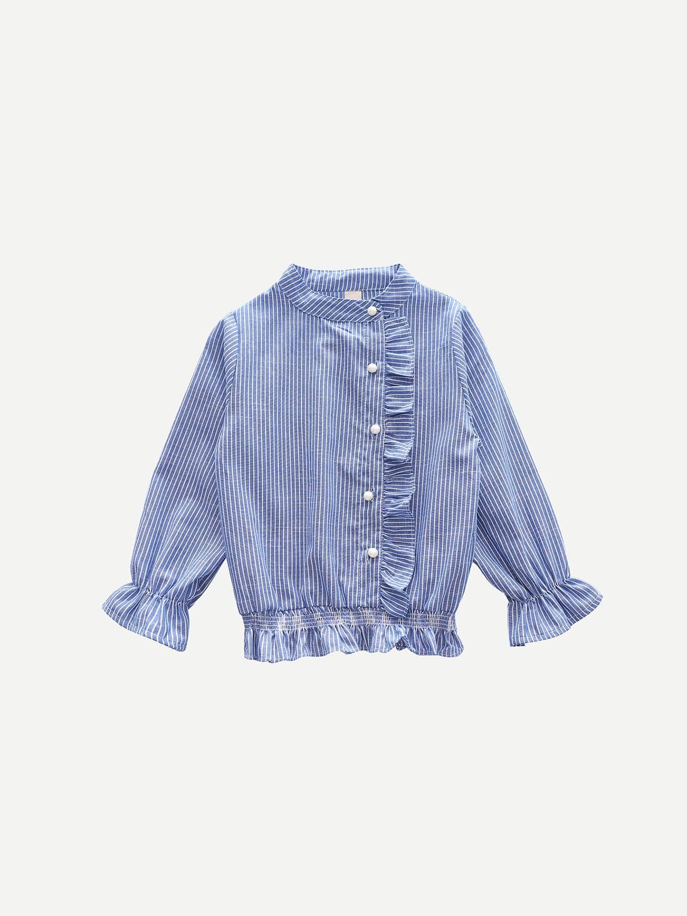 Девушки Рюшами Блуза В Полоску
