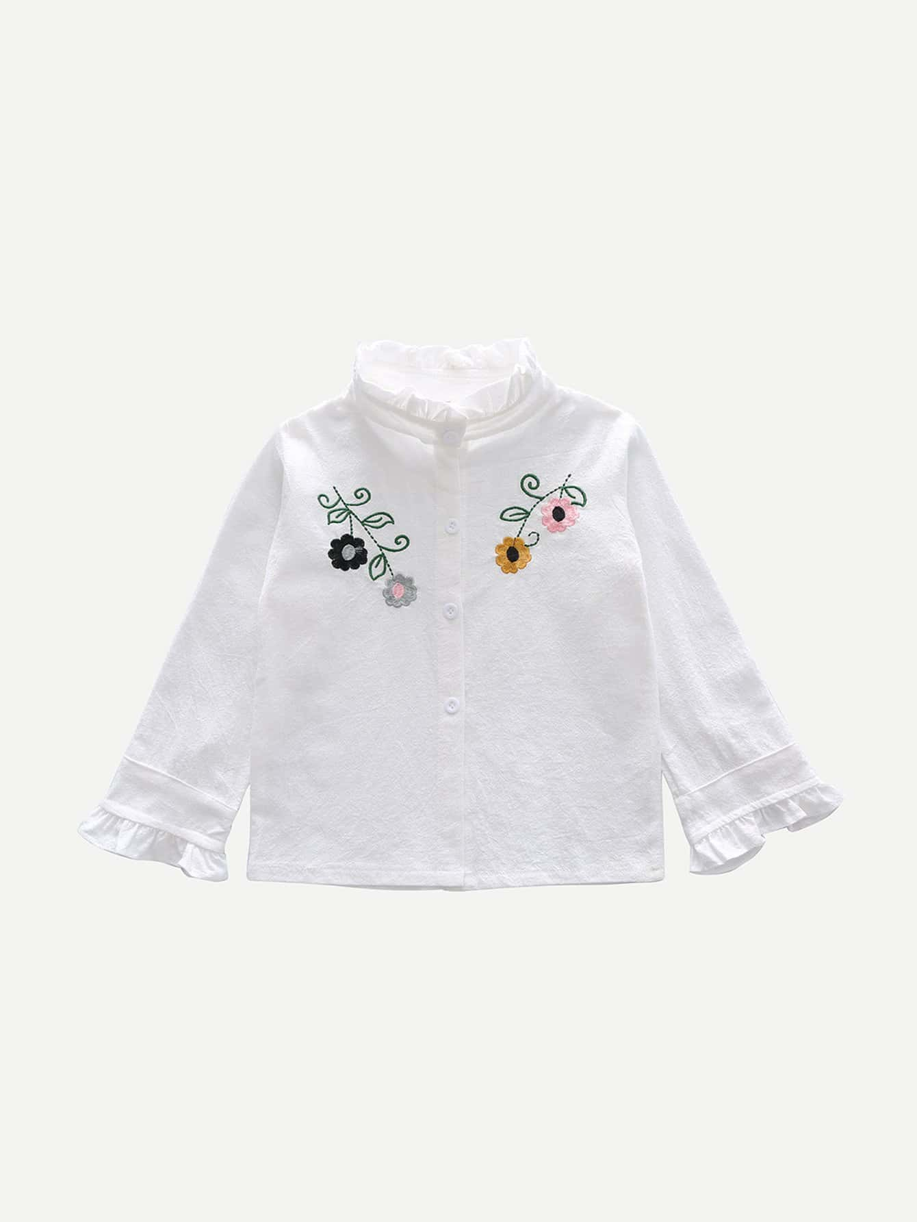 Kids Floral Embroidery Frill Blouse kids floral frill slip dress