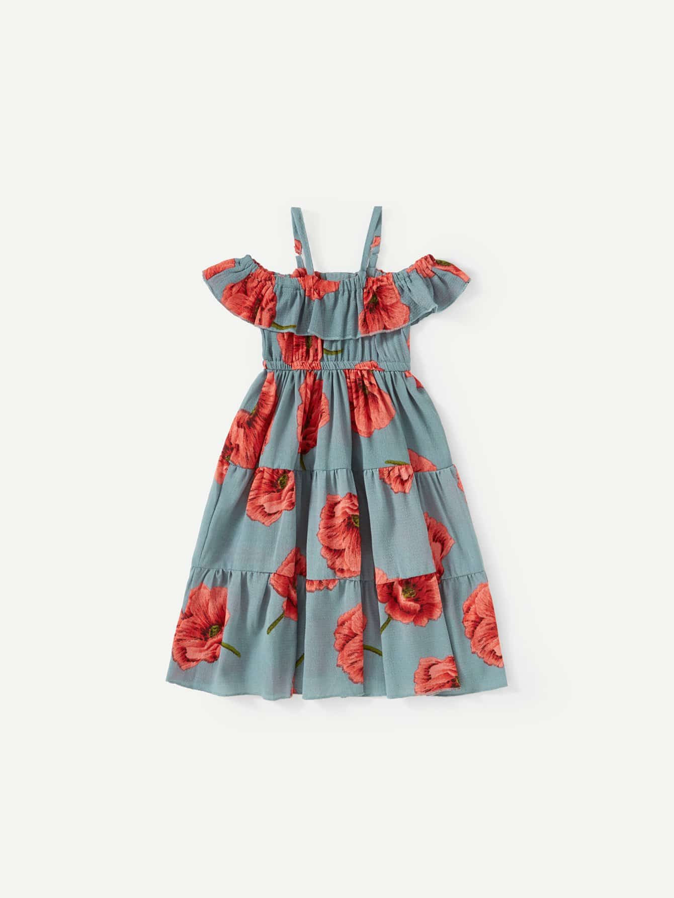 цена на Girls Floral Print Ruffle Trim Dress